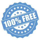 100 percent free. Label on white background Stock Images