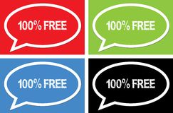 100 PERCENT FREE text, on ellipse speech bubble sign. 100 PERCENT FREE text, on ellipse speech bubble sign, in color set Royalty Free Stock Photo
