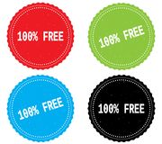 100 PERCENT  FREE text, on round wavy border stamp badge. 100 PERCENT  FREE text, on round wavy border stamp badge, in color set Stock Image