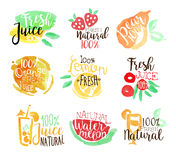 Percent Fresh Juice Promo Signs Colorful Set Stock Images