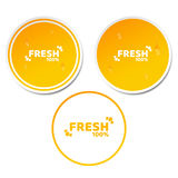 100 percent fresh product. Set of orange stickers in 3d style. Flowing drops of water. Natural product. Fresh orange juice. Ecolog. Ical label. Vector Stock Images
