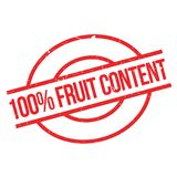 100 percent Fruit Content  rubber stamp. Grunge design with dust scratches. Effects can be easily removed for a clean, crisp look. Color is easily changed Stock Photo