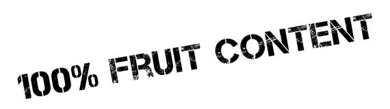 100 percent Fruit Content  rubber stamp. Grunge design with dust scratches. Effects can be easily removed for a clean, crisp look. Color is easily changed Royalty Free Stock Images