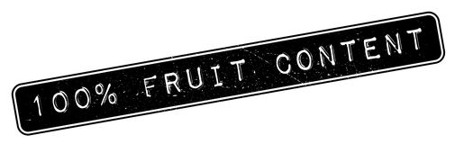 100 percent Fruit Content  rubber stamp. Grunge design with dust scratches. Effects can be easily removed for a clean, crisp look. Color is easily changed Stock Images