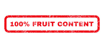 100 Percent Fruit Content Rubber Stamp. 100 Percent Fruit Content text rubber seal stamp watermark. Tag inside rounded rectangular banner with grunge design and Royalty Free Stock Images