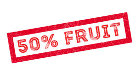 50 percent fruit rubber stamp. On white. Print, impress, overprint Stock Photo