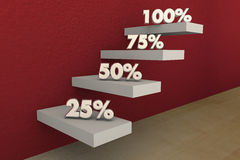 100 Percent Full Top Score Perfect Result Steps. 3d Illustration Royalty Free Stock Photography