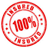 100 percent fully insured stamp. 100 percent fully insured rubber stamp Stock Image