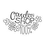 100 Percent Garden Shop Black And White Promo Sign Design Template With Calligraphic Text With Flowers. Fresh Bio Food, Farming And Gardening Products Store royalty free illustration