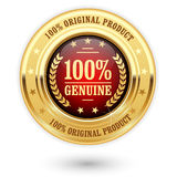 100 percent genuine product - golden insignia. Medal Royalty Free Stock Images