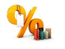 Percent with gift packages. 3d Illustration isolated Black Royalty Free Stock Photo