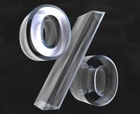 Percent  in glass - 3D Stock Image