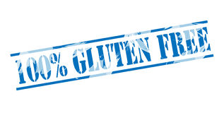 100 percent gluten free blue stamp. On white background Stock Photos
