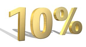 10 percent golden 3d render symbol. On a white background Stock Image