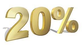 20 percent golden 3d render symbol. On a white background Stock Image