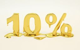10 percent golden melted metal 3D. Render Royalty Free Stock Photography