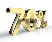 70 percent golden symbol  on white background Royalty Free Stock Photography