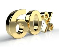 60 percent golden symbol on white background. 3D rendering stock illustration