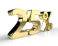 25 percent golden symbol  on white background. 3D rendering Royalty Free Stock Photos