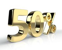 50 percent golden symbol  on white background. 3D rendering Royalty Free Stock Photography