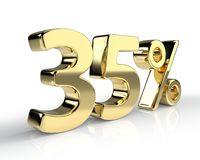 35 percent golden symbol  on white background. 3D rendering Stock Image