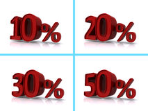 Percent graphics. Set of four 3D graphics with varying amounts of percent from 10% to 50% in red numbers and symbols Royalty Free Stock Photography