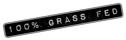 100 percent grass fed rubber stamp. Grunge design with dust scratches. Effects can be easily removed for a clean, crisp look. Color is easily changed Stock Photography