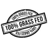 100 percent grass fed rubber stamp. Grunge design with dust scratches. Effects can be easily removed for a clean, crisp look. Color is easily changed Royalty Free Stock Photos