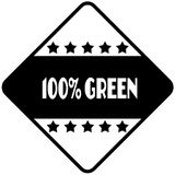 100 PERCENT GREEN on black diamond shaped sticker label. Illustration Stock Illustration