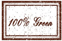 100 PERCENT GREEN brown square distressed stamp. Illustration image Vector Illustration