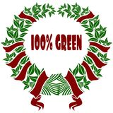 100 PERCENT GREEN red and green flower crown. Illustration concept Vector Illustration