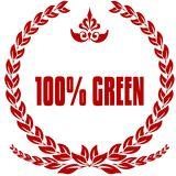 100 PERCENT GREEN red laurels badge. Illustration image concept Vector Illustration