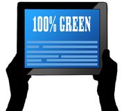 100 PERCENT GREEN on tablet screen, held by two hands. Illustration Royalty Free Illustration