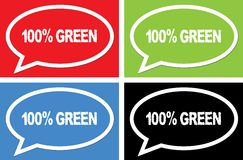 100 PERCENT GREEN text, on ellipse speech bubble sign. 100 PERCENT GREEN text, on ellipse speech bubble sign, in color set Royalty Free Illustration