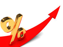 Percent grow. 3d illustration of growing arrow and golden percent sign Stock Images