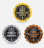 Percent Guarantee Badge Gold Silver Bronze Set. Guarantee Badge with color Gold, Silver, Bronze Stock Photos