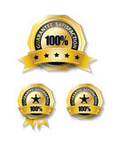 100 percent guarantee gold ribbon badge isolated. Guarantee 100 percent satisfaction with shadow on white background stock illustration