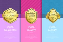 100 Percent Guarantee Quality Luxury Golden Labels. Set of logos design on color posters with text vector illustrations collection on abstract backgrounds Royalty Free Stock Images