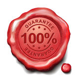 100 percent guarantee red wax seal Stock Photography