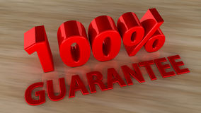 100 percent Guarantee. Text and floor parquet Royalty Free Stock Image
