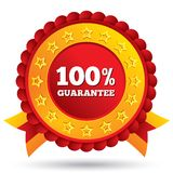 100 percent guaranteed red label with ribbons. Customer satisfaction guaranteed red label with stars and ribbons. 100 percent warranty badge. Isolated on white royalty free illustration