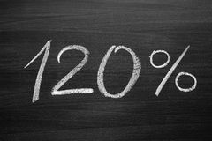 120 percent header written with a chalk. On the blackboard Stock Photos