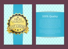 100 Percent High Quality Award Best Choice Vector. Illustration banner with text on banner with blue colors with rhombus, round golden label certificate Royalty Free Stock Photos