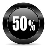 50 percent icon. Black circle web button on white background Royalty Free Stock Photo