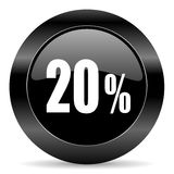 20 percent icon. Black circle web button on white background Stock Photos