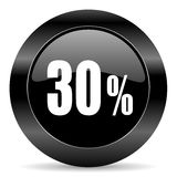 30 percent icon. Black circle web button on white background Stock Images