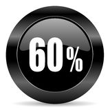 60 percent icon. Black circle web button on white background Royalty Free Stock Photo