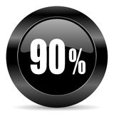90 percent icon. Black circle web button on white background Stock Images