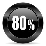80 percent icon. Black circle web button on white background Stock Photo
