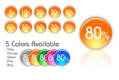 Percent icons. Available from 5 percent to 90 percent Royalty Free Stock Image